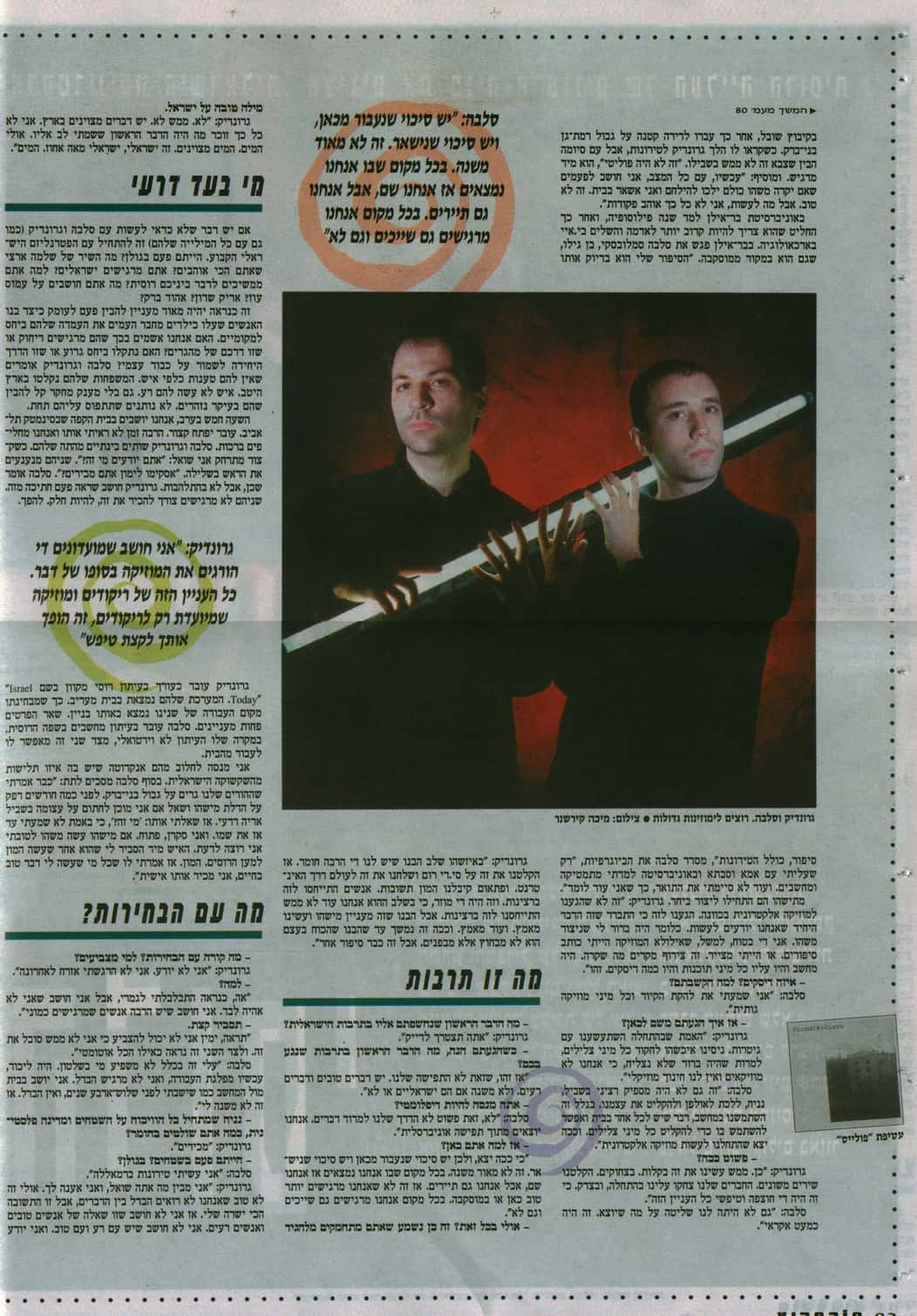 19 01 01 part3 - Cool Ha-Rusi, Maariv, interview with Grundik+Slava, 19.01.2001